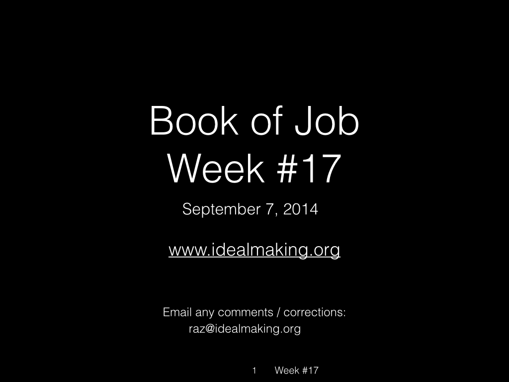 Book of Job, Raz, Week #17.001