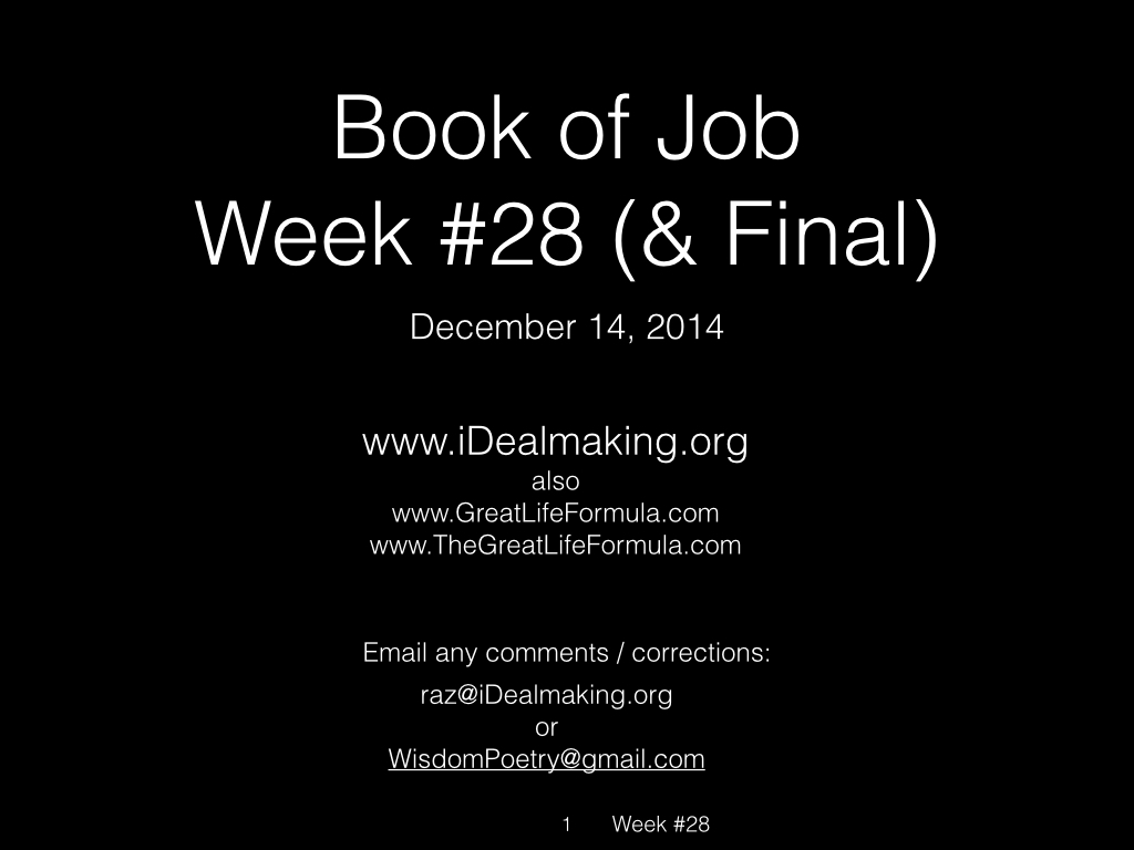 Book of Job, Raz, Week #28.001
