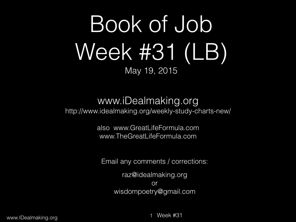 Book of Job, Week #31 LB.001